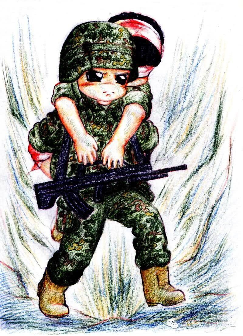 超萌解放军军营彩铅绘画 致最苦最累最可爱的战士