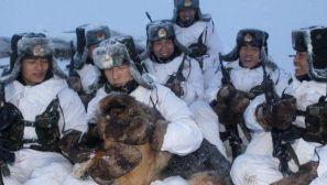 组图:黑河哨兵冒雪巡逻 抱军犬给其取暖