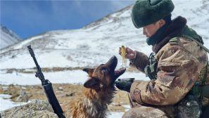 驻西藏解放军春节巡逻吃雪水泡面