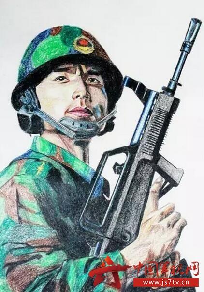 手绘当代革命军人的风采和担当