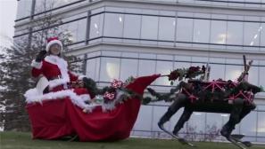 组图:走蠢萌路线 美军大狗机器人扮圣诞驯鹿