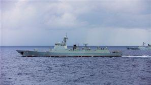 高清大图:中国海军编队太平洋上举行实兵对抗演练