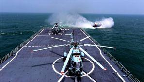 立体投送登陆,我海军舰、机、艇协同出击