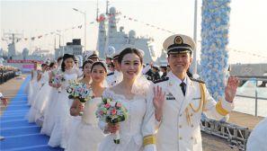 东海舰队某驱逐舰支队举办第三届集体婚礼