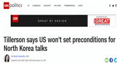 美国准备与朝鲜对话 不设前提条件