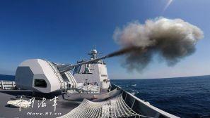 第二十七批护航编队开展主炮射击训练