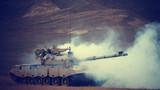 进攻战斗行动中,被蓝军击中的红方坦克。