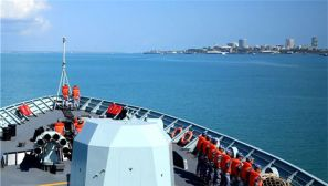 载誉归来,中国海军黄山舰启程回国