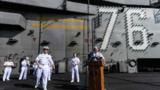 """2018年11月21日,美军核动力航母""""里根""""号战斗群访问香港。"""