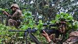 荆棘丛林,战士紧绷眉头练习狙击瞄准。(卢金豪 摄)