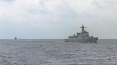 黄海海域  海军多型舰艇72小时高强度训练
