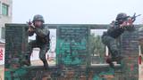 两名特战队员穿越障碍。