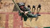 特战队员在进行抓绳攀登训练。