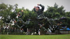 广西北海:武警官兵开展摔擒强化训练
