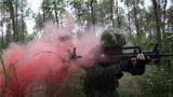 捕歼战斗训练中,特战队员利用烟雾弹发起突击。