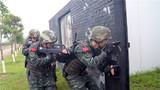战术训练中,特战队员隐蔽抵近。
