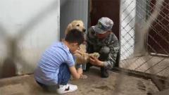 """军娃向军犬的""""告白""""令人动容:请你代替我多陪陪爸爸"""