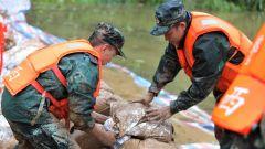 广西来宾:暴雨冲毁河堤 武警官兵紧急加固堤坝