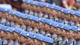 10月1日上午,慶祝中華人民共和國成立70周年大會在北京天安門廣場隆重舉行。這是受閱的維和部隊方隊。黃宗治 攝