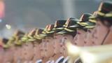 10月1日上午,庆祝中华人民共和国成立70周年大会在北京天安门广场隆重举行。这是联合军乐团在演奏。 姚大伟 摄