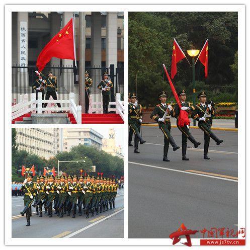 001-10月1日,多地举行国庆升旗仪式共同庆祝中华人民共和国成立70周年,让我们一起去庄严又火热的现场感受下浓浓的爱国气氛吧!图为武警陕西总队执勤支队52名官兵组成的国旗护卫队担负顺利完成升旗任务。