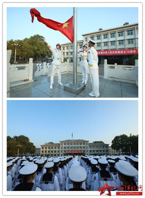 007-10月1日清晨,海军陆战队某旅隆重举行升国旗仪式,庆祝中华人民共和国成立70周年。在这次升旗仪式上,该旅特别邀请官兵家属参加此次升旗仪式,共同感受祖国发展荣光。