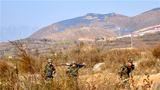 11月7日,武警某部六支队组织火力分队开展了指挥通联、隐蔽前进、火力打击、阵地转移等科目训练。图为官兵向炮阵地隐蔽前进。