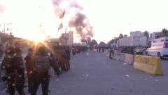 伊拉克示威者从美使馆外撤离