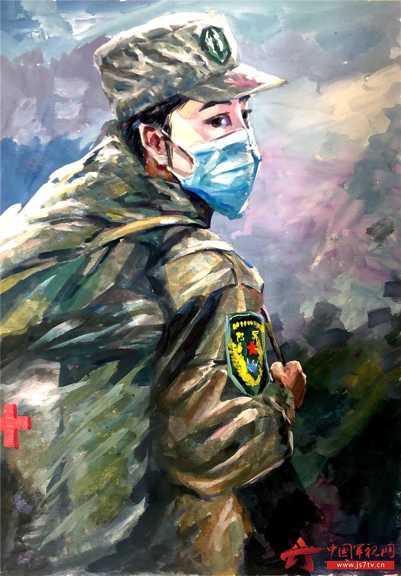 """2、这是退役军人周明华创作的6幅""""最美逆行者""""出征油画作品,为""""逆行者""""加油。 (5)"""