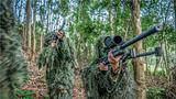 狙击手掩护特战队员向密林深处展开搜索。
