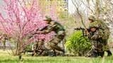 警卫勤务大队官兵正在进行战术训练。