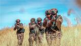 特战队员在芦苇丛中进行武装搜索