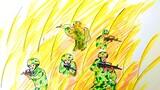 """战场上冲锋陷阵,指挥所运筹帷幄,危难中救死扶伤……五一劳动节来临之际,武警甘肃省总队白银支队掀起""""画笔绘青春""""活动热潮,一幕幕军旅瞬间在官兵画纸上生动呈现,描绘着军人坚守岗位拼搏奉献的青春足迹。战友们,你看哪些身影,有你的青春写照呢?图为战斗员——小组协同搜索前进"""