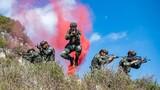 小组战术训练中,预备特战队员分散搜索。
