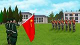 最后一次宣誓。面对鲜红的八一军旗,退伍兵感慨万千,他们高举右拳,庄严宣誓。