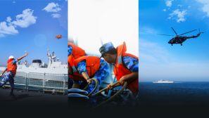 【軍視界】波濤洶涌 場面壯觀  海軍某護衛艦支隊展開海空聯合訓練
