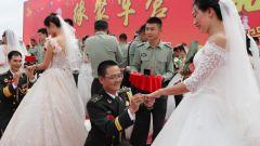 陆军第82集团军某旅为41对新人举办集体婚礼