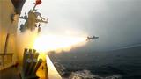 定州艦對海面目標進行導彈攻擊 。