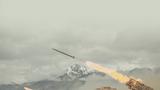 """某新型火箭炮对""""敌""""阵地实施火力覆盖"""