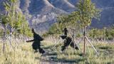 狙击组快速通过丛林