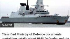 俄英軍艦對峙事件持續升溫 英國防部丟失文件顯示俄英軍艦對峙為英方提前設計